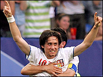 Czech midfielder Tomas Rosicky celebrates his spectacular goal against the USA