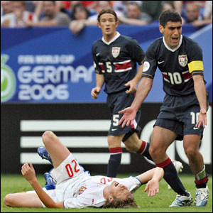 Claudio Reyna shows his frustration