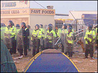 Riot police at the festival (credit Jo Brown)