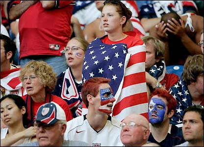Disappointed USA fans watch their side slump to defeat