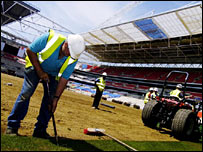 Laying turf at Wembley stadium