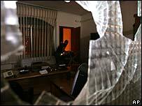 Damaged Palestinian parliament office window