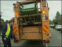 A refuse collection lorry