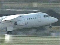 Plane taking off at Farnborough Airport