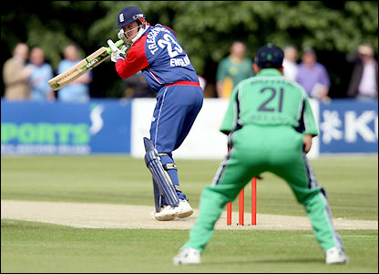 Marcus Trescothick plays a shot on the off-side early in the match