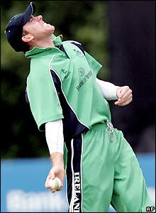 Trent Johnston celebrates the dismissal of Paul Collingwood for 10