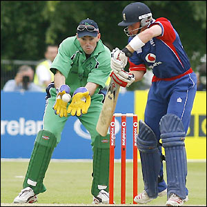 Ian Bell plays a shot in front of Ireland's Jeremy Bray