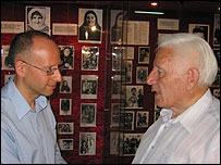 Dolkhat Taumuzaev (right) with BBC's Steve Rosenberg