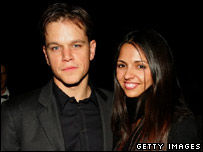 Actor Matt Damon and his wife Luciana