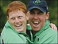 Kevin O'Brien and Trent Johnston celebrate a wicket