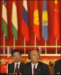 Chinese Foreign Minister Li Zhaoxing at the SCO meeting in May