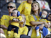 Swedish fans with their babies