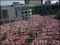Soccer fans in Exchange Square - courtesy of Manchester Evening News