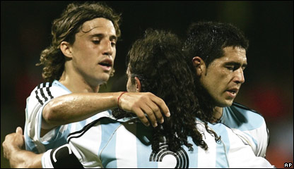 Hern�n Crespo, Juan Pablo Sorin y Juan Rom�n Riquelme