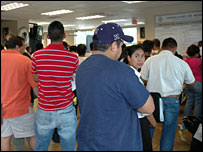 People waiting for documents at the Mexican consulate in Raleigh, North Carolina