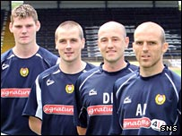 Gary MacKenzie, Danny Griffin, assistant David Farrell and Alex Rae