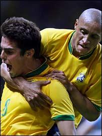 Brazil's Kaka and Roberto Carlos