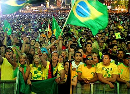 Over 500,000 fans watched Brazil beat Croatia on a large screen near the Brandenburg Gate