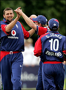 Steve Harmison adds the wicket of Kyle McCallen to that of Dominick Joyce