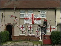 The Woodward home, adorned with England flags