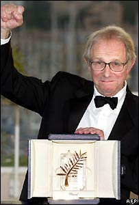 Ken Loach with his Palme D'Or award at Cannes