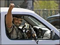 Iraqi soldier patrolling a Baghdad street