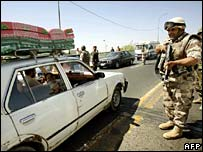 Iraqi soldier at checkpoint in Baghdad