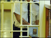 A prison officer locks the doors in Belmarsh maximum security prison in London