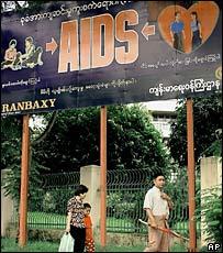 Aids awareness poster in downtown Rangoon