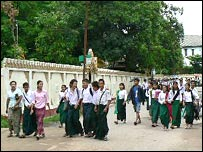 Schoolchildren in Rangoon