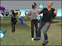 An avatar of Chris Moyles dances in Second Life