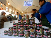 Canned whale meat on sale in Tokyo
