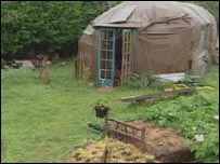 A yurt on the Landmatters site