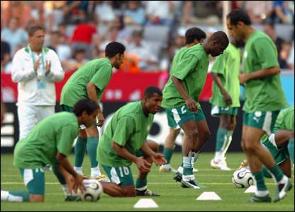 Saudi Arabia stretch before the match