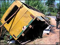 The wreckage of Thursday's bus attack