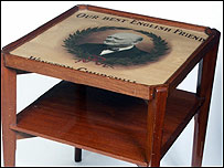 Coffee table inlaid with cigar box lid. Picture: David Lay Auction