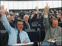 Members of the European parliament during a vote