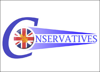 showing the patriotic side of the Conservative party with an oak leaf on