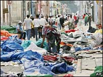 Debris in the streets of Oaxaca where teachers erected a tent city