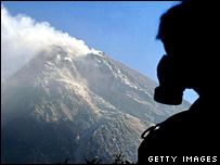 Rescuer working near Mt Merapi