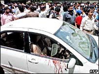 Bloodstained car after attack