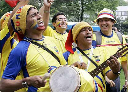 Ecuadorian supporters wait for the match to start