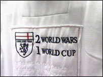 "The t-shirts with ""Two World Wars and One World Cup"" slogans"