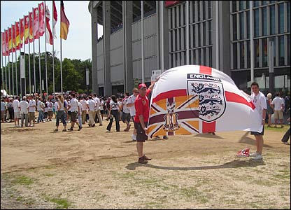 England fans fly the flag in Nuremberg