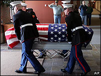 The coffin of a US marine killed in Iraq