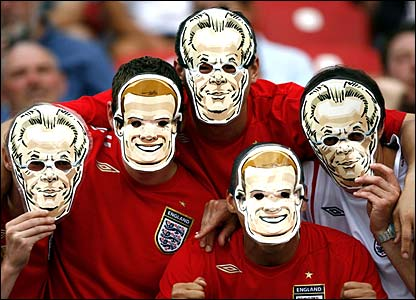 England fans wear their BBC Sport Academy Rooney and Sven masks