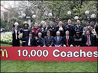 England coach Sven Goran Eriksson helps honour some of the 10,000 amateur football coaches