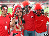 Trinidad and Tobago fans at the stadium in Nuremberg