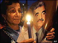 Vigil for Rafik Hariri in Beirut on the anniversary of his death, Feb 2006