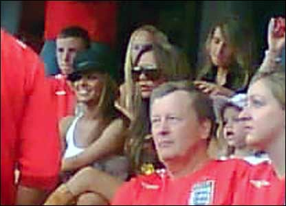 Victoria Becham and Cheryl Cole just before the Trinidad and  Tobago game